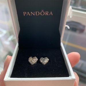 Pandora sterling silver heart studs